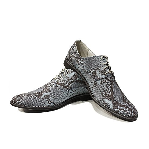 Modello Isidoro - Cuero Italiano Hecho A Mano Hombre Piel Azul Zapatos Vestir Oxfords - Cuero Cuero repujado - Encaje