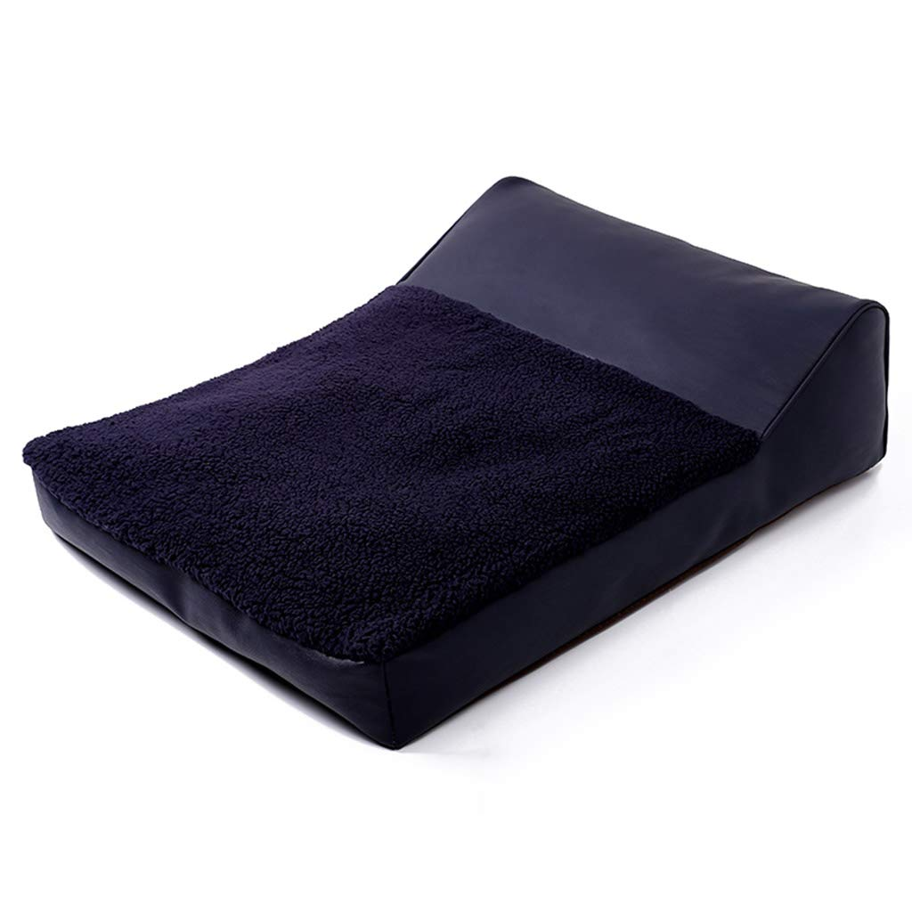 Dark bluee DQMSB Indoor Faux Leather Fashion Dog Cat Bed Pet Cushion Comfortable Breathable Pet Sofa pet Bed (color   Dark bluee)