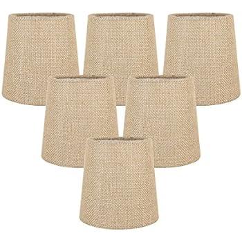 Upgradelights Sand Linen 6 Inch Drum Style Clip On Chandelier Mini ...