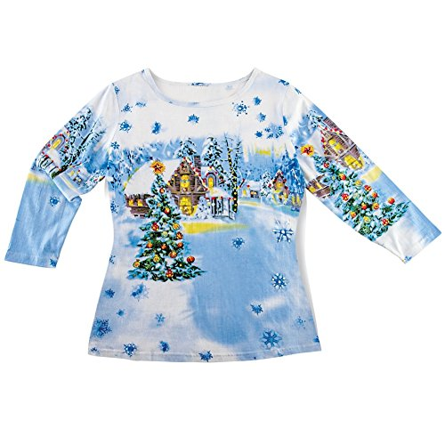 Sequined 3/4 Sleeve Top (Collections Etc Women's Sequined Winter Flurry Scene Top, Blue and White, X-Large, Plus-Size)