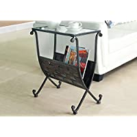 Monarch Specialties Metal Magazine Table with Tempered Glass, Black/Taupe