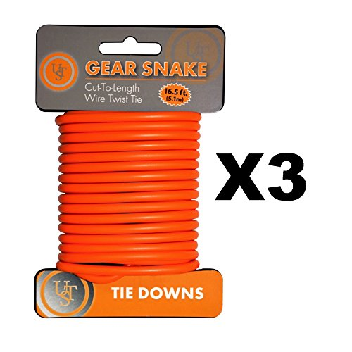 Ultimate Survival Technologies Gear Snake Orange Bendable Wire Tie-Down (3-Pack) by Ultimate Survival Technologies