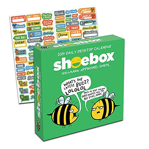 Shoebox Desk Calendar 2019, Box Set - Deluxe Page a Day 2019 Shoebox Daily Desk Calendar Bundle with Over 100 Calendar Stickers (Shoebox Gifts)