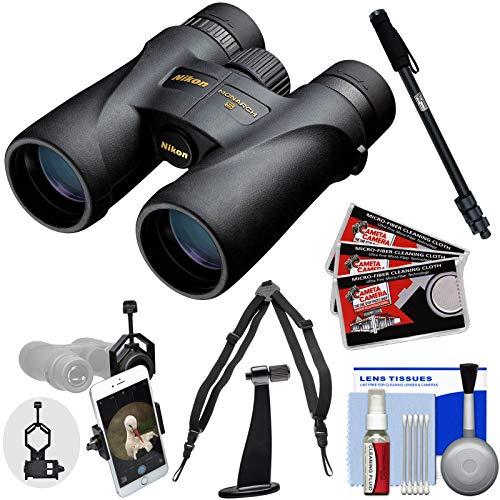 Nikon Monarch 5 12x42 ED ATB Waterproof/Fogproof Binoculars with Case + Harness + Smartphone Adapter + Tripod Adapter + Monopod + Cleaning Kit