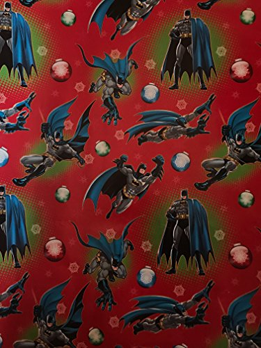 DC Christmas Wrapping Paper- Batman Wrapping Paper - Super Hero Wrapping Paper Birthday - Batman Wrapping Paper - Batman Gift Paper - 1 Roll (Red Batman Ornaments (65sqft))