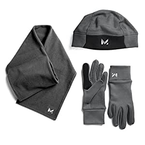 Mission Men's Radiantactive Performance Beanie/Scarf/Glove Set, Carbon, Large/X-Large