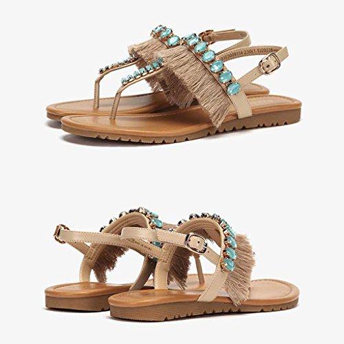 la Sandales Cheville Mode Flops à de la Shoes Low Strass Casual pour Heel Sandales en Blue Femmes Flip Flat z1Arzw