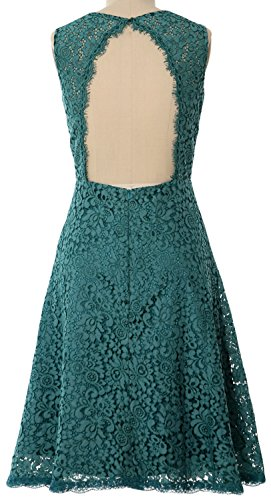MACloth Women Open Back Lace Short Wedding Party Dress Formal Cocktail Prom Gown Menta