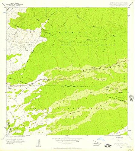Hawaii Maps - 1956 Upper Piihonua, HI USGS Historical Topographic Map - Cartography Wall Art - 37in x ()