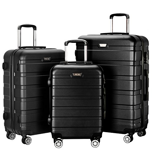 Resena Luggage 3 Piece Set Suitcase Spinner Hardshell Lightweight (Black) by Resena