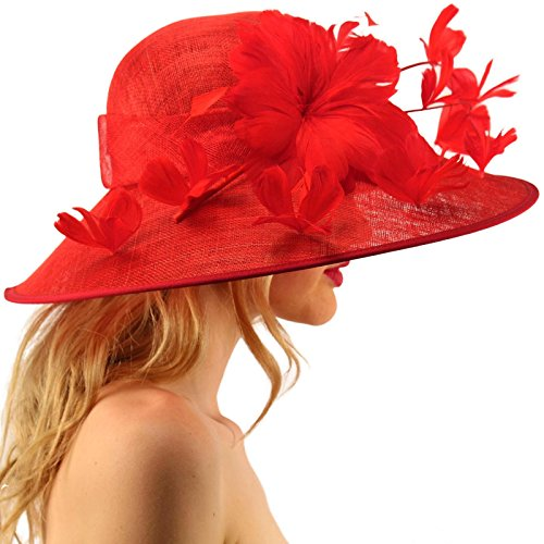 SK Hat shop Demure Dome Sinamy Butterfly Floral Feathers Derby Floppy Dress Wide Hat