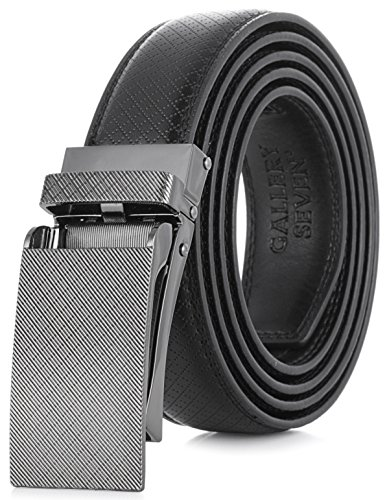 Gallery Seven Leather RatchetBelt For Men - Adjustable Click Belt - Black - Style 11 - Adjustable from 28'' to 44'' Waist by Gallery Seven