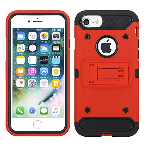Cube Cell Phone Case for Apple iPhone 8/7 / 6s / 6 - Red Colored Horizontal Hard Back Kickstand with Black TPU Hybrid Front Bumper