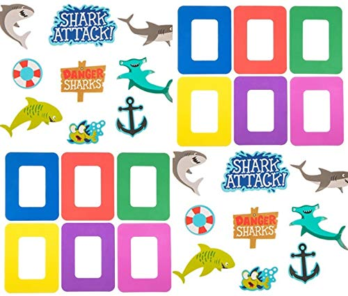 HAPPY DEALS ~ ~ (12 Shark Under The Sea Magnet Picture Frame Craft Kits - 12 Frames and 216 Shark Theme Foam Shapes to Decorate Frames- Class Pack