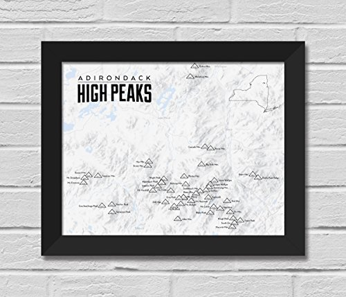 Best Maps Ever Adirondack High Peaks Map FRAMED 11x14 Print (Gray | Black)