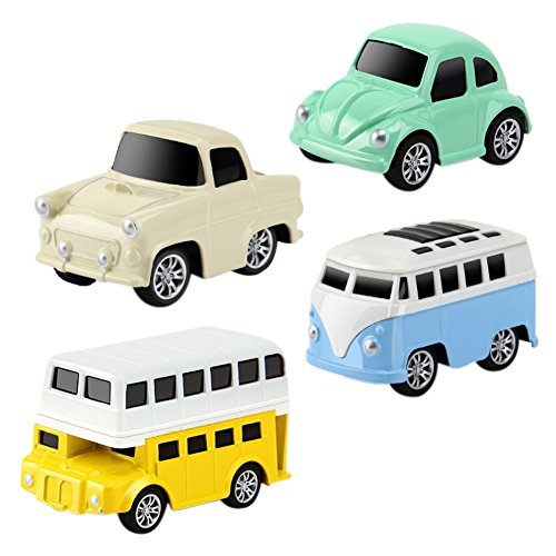 (Luxsea 4 PCS Pull Back Cars Alloy Vehicles Set Mini Car Model Construction and Raced Trucks )