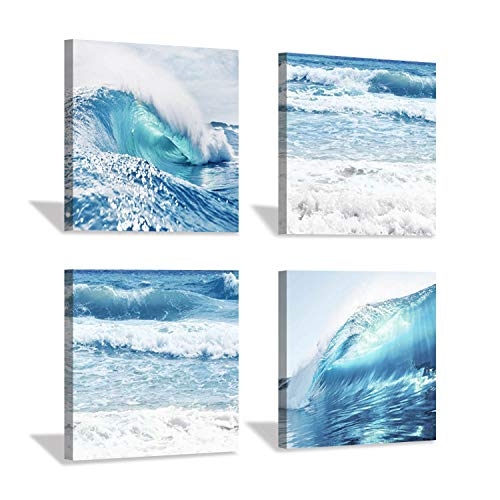 Coastal Coastline Canvas Wall Art: Ocean Waves Artwork Print on Canvas for Living Room (12