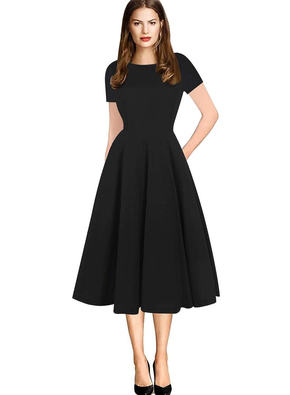 Fantaist Women s Elegant Short Sleeve Round Neck Pockets Puffy Swing Midi  Dress at Amazon Women s Clothing store  d2b5a055b