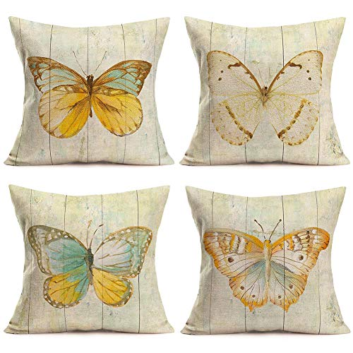 ShareJ Pack of 4 Decorative Pillow Covers Butterfly Specimen Pattern Square Cotton Linen Cushion Cover 18 X 18 Inches Throw Pillow Covers Cases for Couch Sofa Bed Home Decor