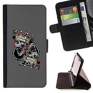 BullDog Case - FOR/Sony Xperia M2 / - / ACE SPADES SKULL CROWN KING GREY /- Monedero de cuero de la PU Llevar cubierta de la caja con el ID Credit Card Slots Flip funda de cuer