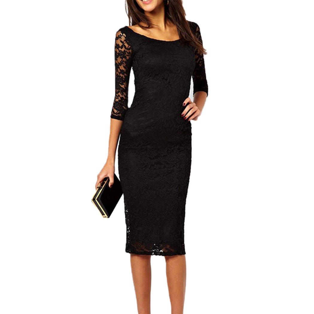 0736cba0b21ad5 HANMAX Knielang Damen Etuikleid, Reizvolle Spitzenkleid Figurbetontes  Abendkleid Cocktailkeid Business-Outfits: Amazon.de: Bekleidung