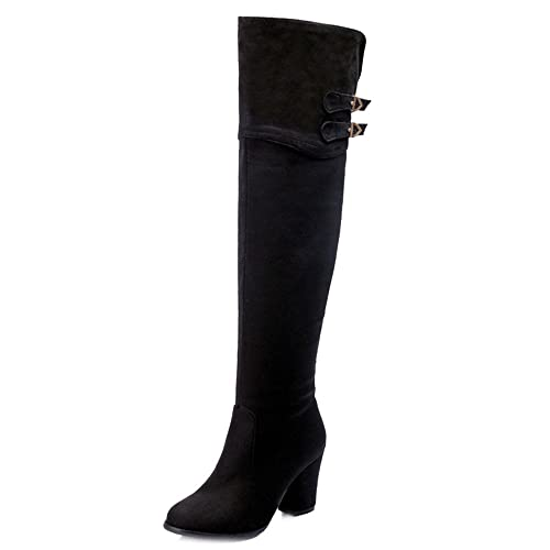 68c052aafe6 SJJH Women Long Boots with High Chunky Heel and Pointed Toe Women Over The Knee  Boots