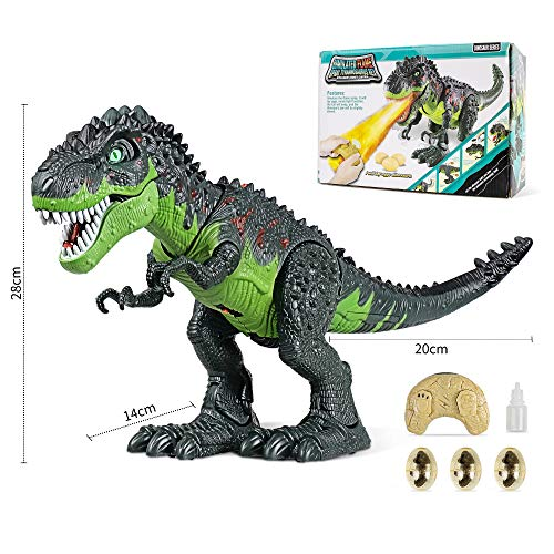 WQ Remote Control Dinosaur Toy for Kid, RC Tyrannosaurus Intelligent Interactive Smart Toy Electronic Remote Controller Robot Realistic Walking & Roaring, LED Eyes with Spraying Function