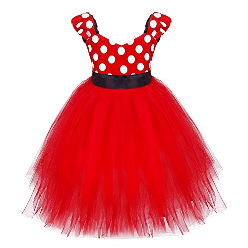 YiZYiF Baby Girls' Polka Dots Dresses Christmas Party Costume Birthday Tutu Dress Up Red 5T ()