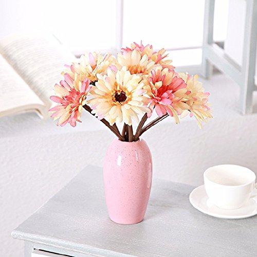 LOF-fei Flores artificiales Rosas de seda para la decoración del hogar oll de seda rosa,naranja vasos cerámicos