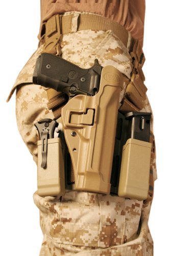 BLACKHAWK! Serpa Level 2 Tactical Holster USMC, Coyote Tan/Size 04, Right Hand, (Beretta 92/96/M9 Std or A1 w/rails (NOT Brig/Elite)