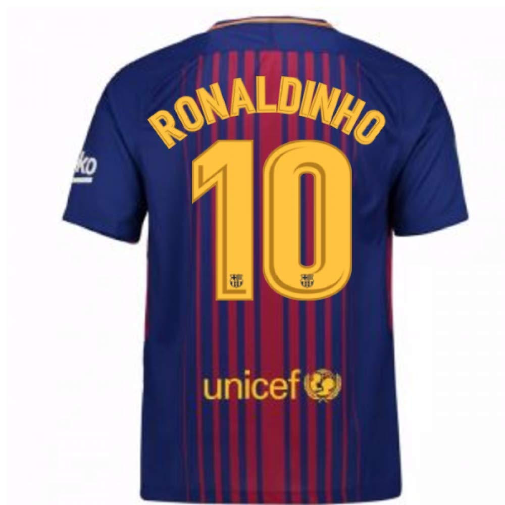 2017-2018 Barcelona Home Football Soccer T-Shirt Trikot (Ronaldinho 10) - Kids