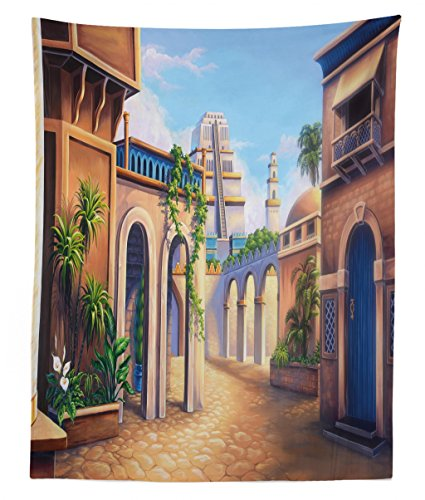 Lunarable City Tapestry Twin Size, Ancient Babylon City Gardens Architecture Seven Wonders of The World, Wall Hanging Bedspread Bed Cover Wall Decor, 68 W X 88 L inches, Pale Caramel Green Blue from Lunarable