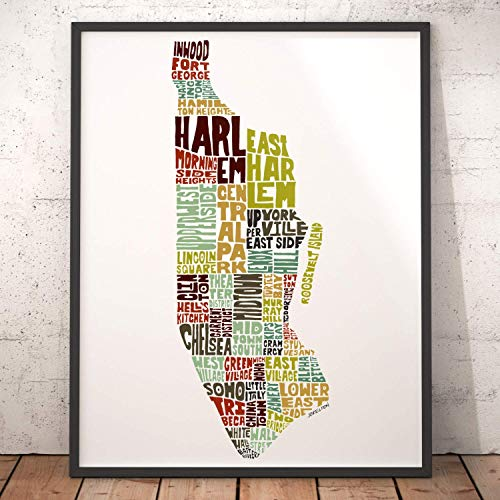 Manhattan Neighborhood Map Art Print, signed print of my original hand drawn Manhattan typography map art (York Map Neighborhood New)