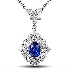 White Gold With Blue Sapphire Necklace Pendant