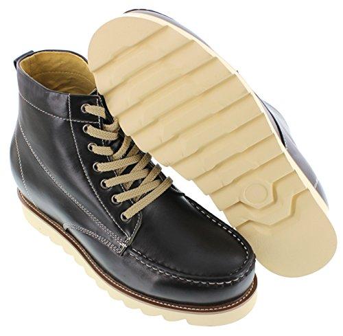 Toto A1812-3.3 Inches Taller - Height Increasing Elevator Shoes (zwarte Leren Veterschoenen Met Vetersluiting)