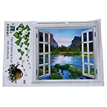 SODIAL(R)Removeable Vinyl Decal Pastoral Style Fake Window Wall Stickers