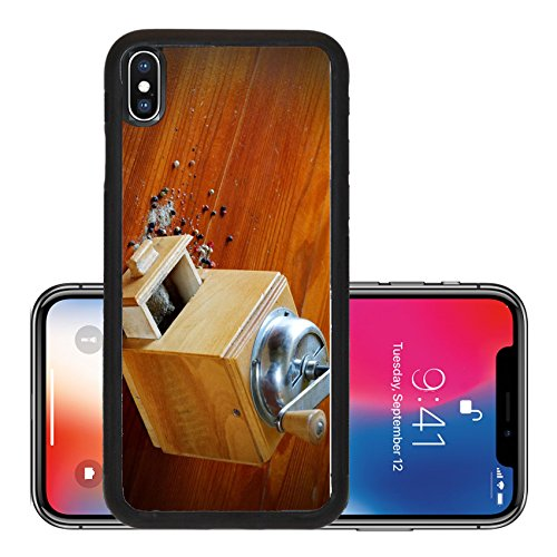 Liili Premium Apple iPhone X Aluminum Backplate Bumper Snap Case IMAGE ID 32675464 Old grinder background with pepper and allspice vintage table