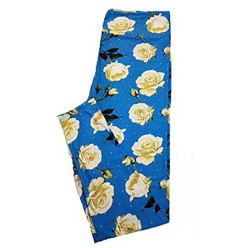 Lularoe TC2 Roses Floral Blue Peach Black White Polka Dot Leggings fits Adult Sizes 18+
