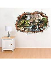 ufengke Dinosaurus in de rivier muursticker, 3D-spiegelweergave, doorbreekt de muur, vinyl-wandsticker, verwijderbaar, doe-het-zelf-vinyl-muursticker voor woonkamer, slaapkamer, kinderkamer