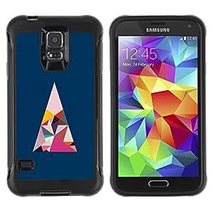 Híbridos estuche rígido plástico de protección con soporte para el SAMSUNG GALAXY S5 - polygon art blue pink minimalist