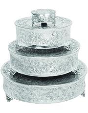 "Benzara 15947 Deco 79 Aluminum Cake Stand for Stylish Host, Set of 4, 22""/18""/14""/6"""