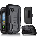 lg 305c phone case - LG 306G Case, Starshop LG 306G 305C Hybrid Full Protection High Impact Dual Layer Holster Case with Kickstand and Locking Belt Swivel Clip Black