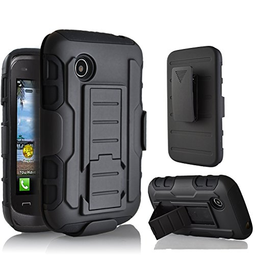 LG 306G Case, Starshop LG 306G 305C Hybrid Full Protection High Impact Dual Layer Holster Case with Kickstand and Locking Belt Swivel Clip Black