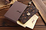 us amazon - HeiL iPhone 7Plus 8Plus Monogram L (Fast US Deliver Guarantee Fulfilled by Amazon) New Elegant Luxury PU Leather Wallet Style Flip Cover Case For Apple iPhone7PLUS iPhone8PLUS (Brown)