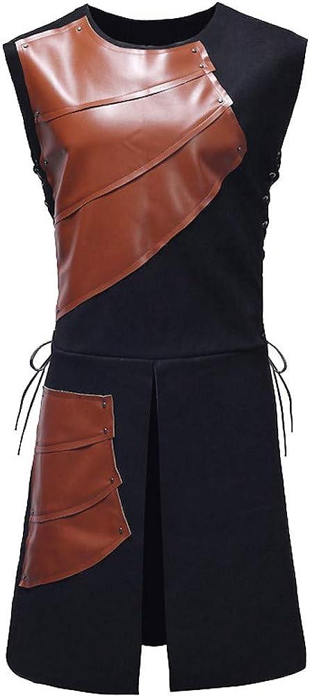TOPGEE Mens Metallic Leather Motorcycle Biker Vest Single-Breasted Casual Jacket Vests