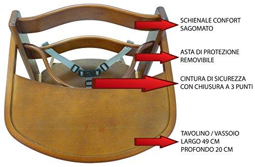 Seggiolone sediolone sgabello sedia in legno noce marrone altezza
