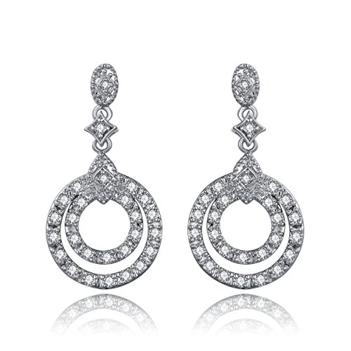Cubic Zirconia Open Double Circle Round Dangle Earrings by Lux and Glam Jewelry Collection Double Open Circle Dangles
