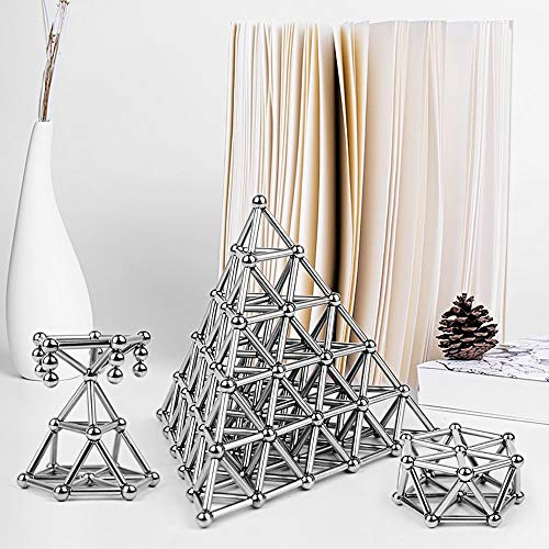 LiKee Upgraded 108 Pieces Magnetic Sculpture with Ultra- Long 0.1in Bars, Magnet Fidget Toys Building Block for Stress Relief, Office and Home Desk Decor, Cool Gadget for Adult (Silver, 108 Pieces) by LiKee (Image #4)