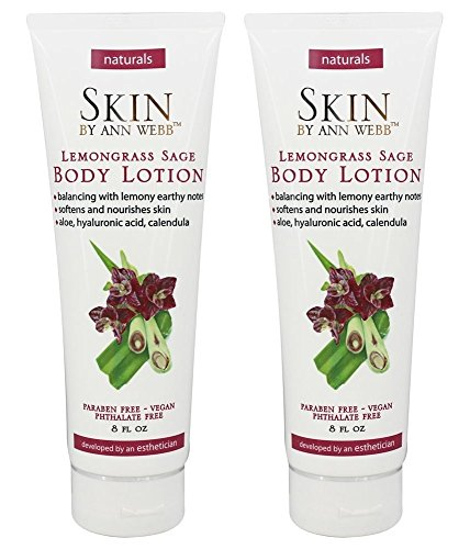 Skin by Ann Webb Lemongrass Sage Body Lotion (Pack of 2) with Aloe, Rosemary Leaf Extract, Chamomile Flower Extract, Lemongrass, Jojoba Seed Oil and Sage, 8 oz For Sale