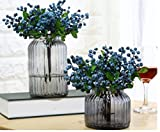 URTop 12 Pcs Plastic Artificial Flowers California Berries Blueberry Fruit Fake Silk Flowers Home Decorative Party Wedding (Blue)